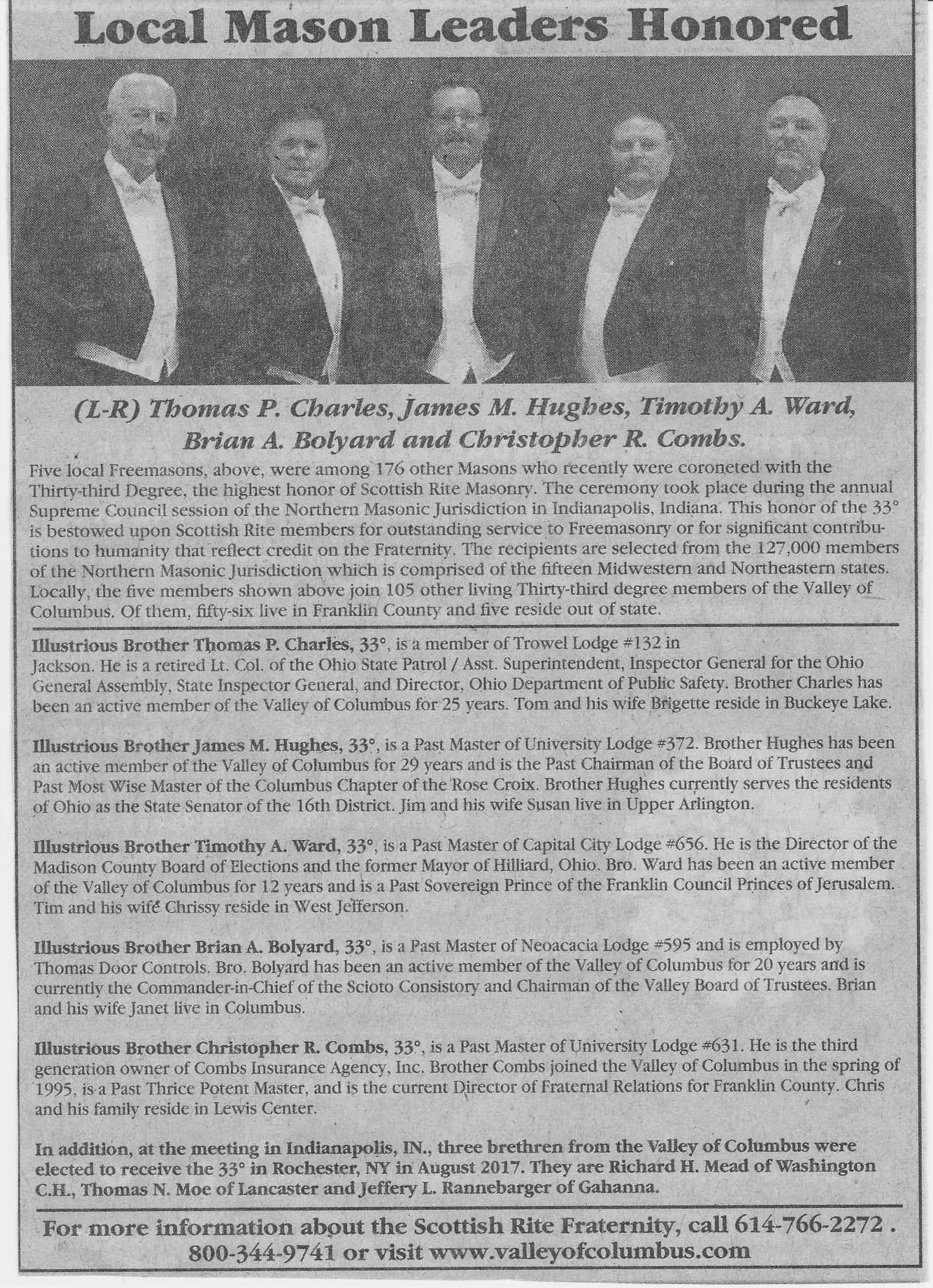 Local Scottish Rite Masons Receive 33rd Degree - Urania Lodge 311